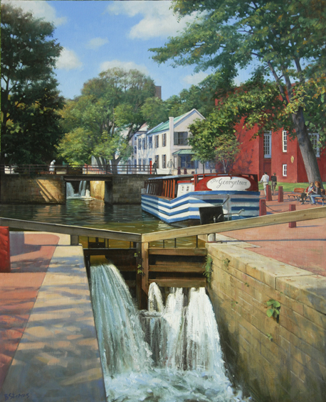 C & O Canal, cityscape painting, oil painting, Georgetown