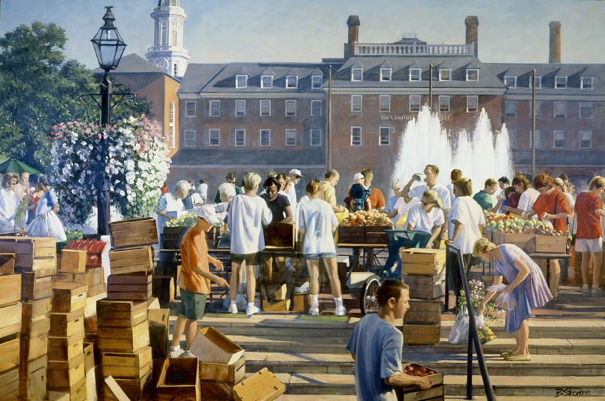 market morning old town, cityscape painting, oil painting, figurative painting, Old Town Alexandria market scene