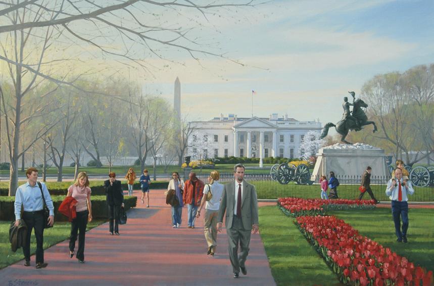 springtime in lafayette park, cityscape painting, oil painting, figurative painting, Lafayette Park scene, Washington DC cityscape