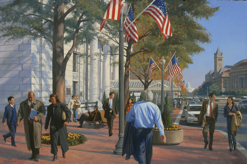 the willard, cityscape painting, oil painting, Washington DC street scene, The Willard Hotel, figurative painting, Washington DC cityscape
