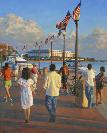 washington harbour, cityscape painting, oil painting, Washington DC cityscape, Washington Harbour scene, figurative painting