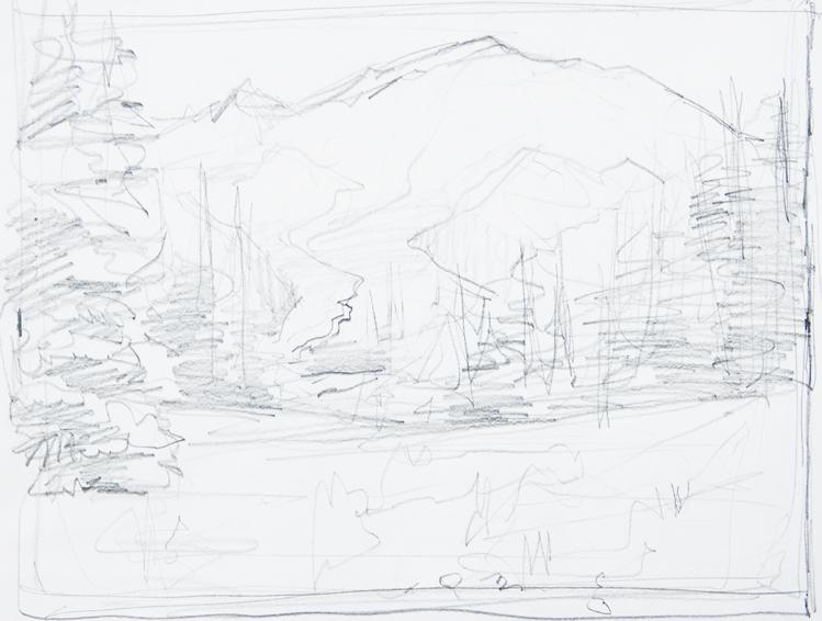 mt-rainier-sunrise-pencil sketch 1