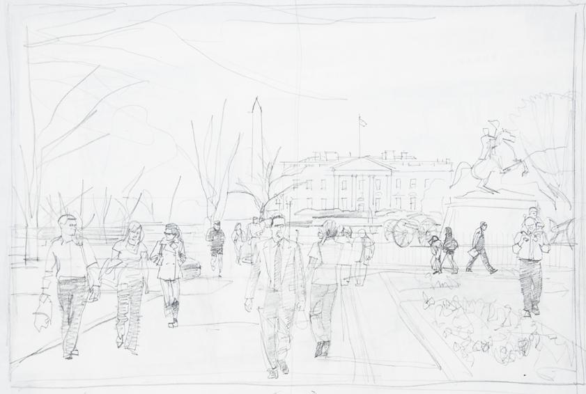 springtime-in-lafayette-park-pencil sketch