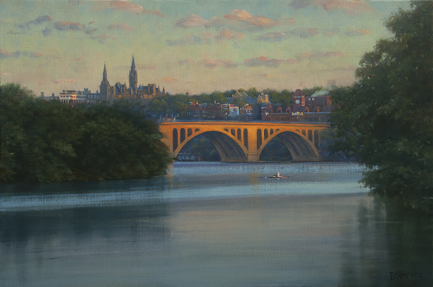 tranquil-morning, landscape painting, Washington, DC art, Georgetown University, Key Bridge, rowers, Potomac river.