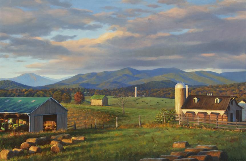 Blue Ridge Daybreak, landscape painting, oil painting, Blue Ridge mountains landscape painting