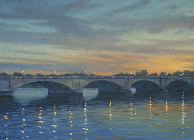 memorial bridge dusk, landscape painting, cityscape, bridge painting, Washington DC memorial, Arlington Cemetery, Washington DC bridge