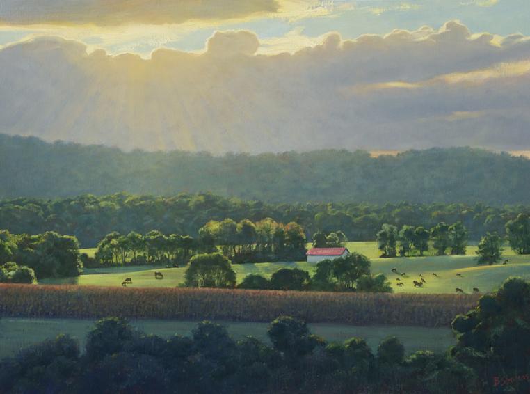 sun break, landscape painting, oil painting, virginia landscape painting, virginia piedmont landscape, blue ridge virginia landscape