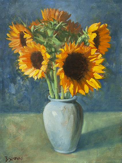 sunflowers, floral still life, realistic oil painting.