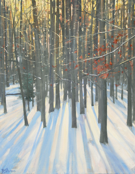 winter woods, landscape painting, oil painting, Virginia winter landscape painting