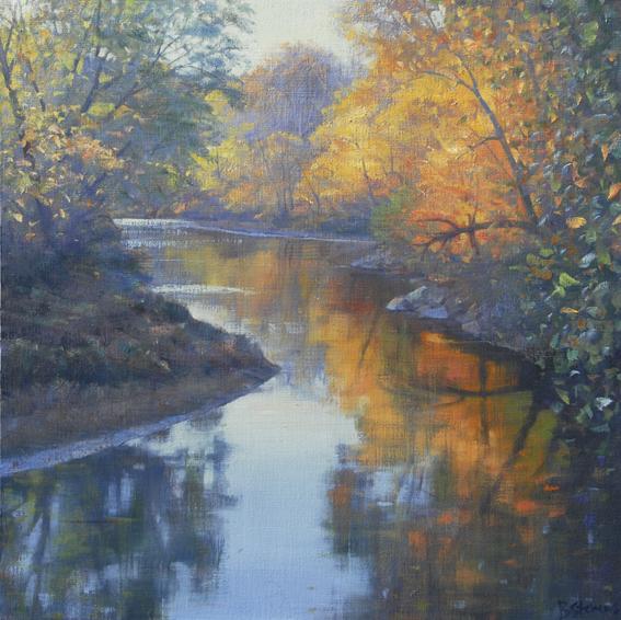 autumn impressions, landscape painting, oil painting, Virginia landscape painting, Virginia river scene