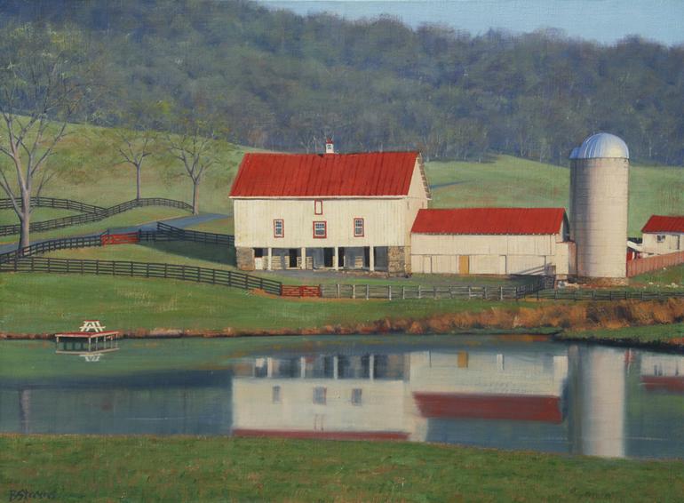 farm reflections, landscape painting, oil painting, virginia landscape painting