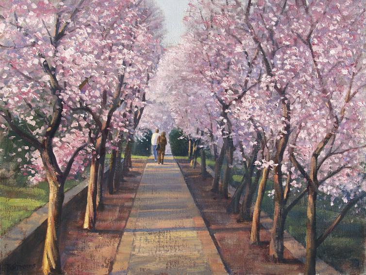 plum alley, landscape painting, oil painting,plum trees Dumbarton Oaks Washington DC, Washington DC landscape painting
