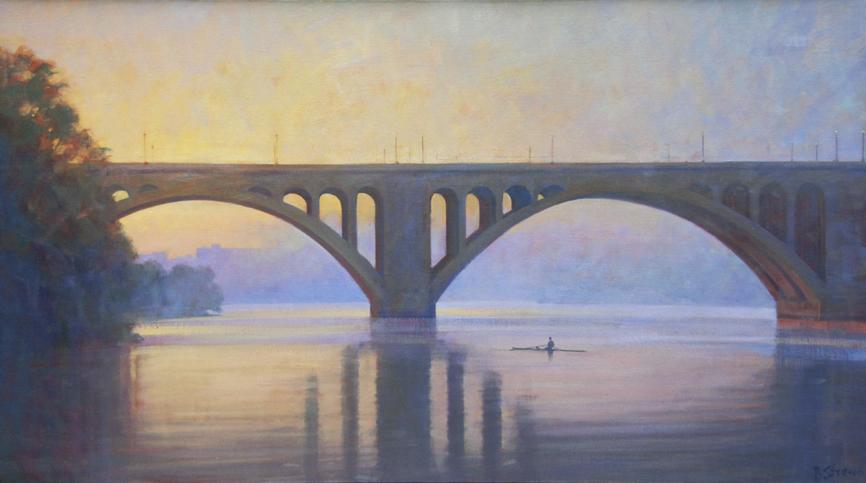 potomac morning fog, landscape painting, oil painting, potomac river landscape painting, sunset on the potomac river, key bridge painting