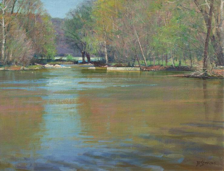Potomac Primavera, landscape painting, oil painting, Potomac River landscape painting, potomac river in springtime