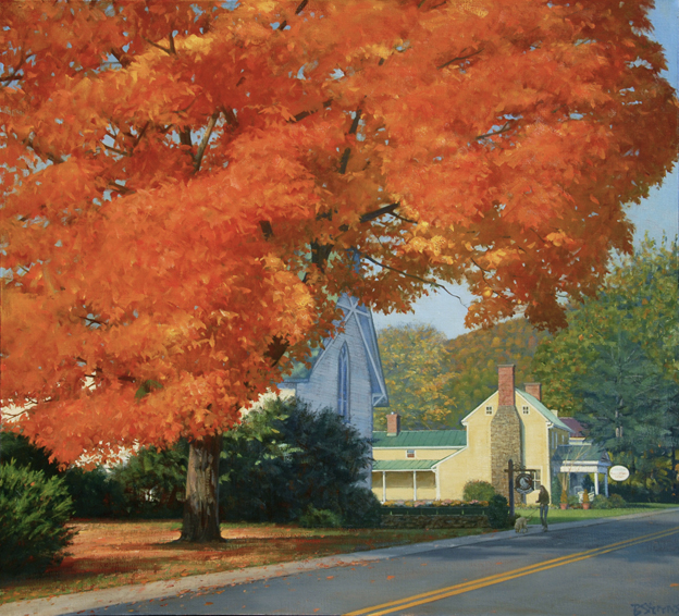 red maple, landscape painting, Virginia landscape painting, oil painting, Sperryville VA landscape