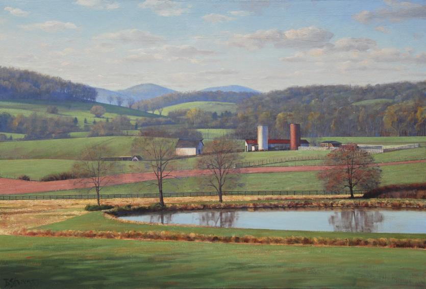 spring in the valley, landscape painting, oil painting, virginia landscape painting, Fauquier County VA farm scene