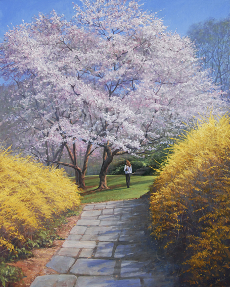 springs path, landscape painting, oil painting, Washington DC spring landscape painting, Dumbarton Oaks landscape painting, cherry blossom painting