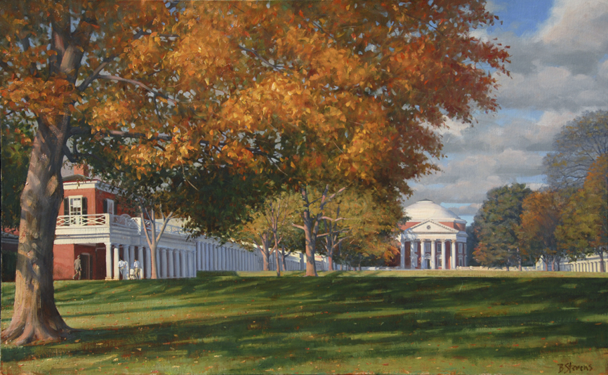 the lawn, landscape painting, oil painting, UVA Lawn painting, UVA Charlottesville painting