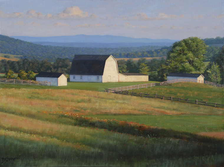 white barn, landscape painting, oil painting, Virginia landscape painting, Virginia farm scene