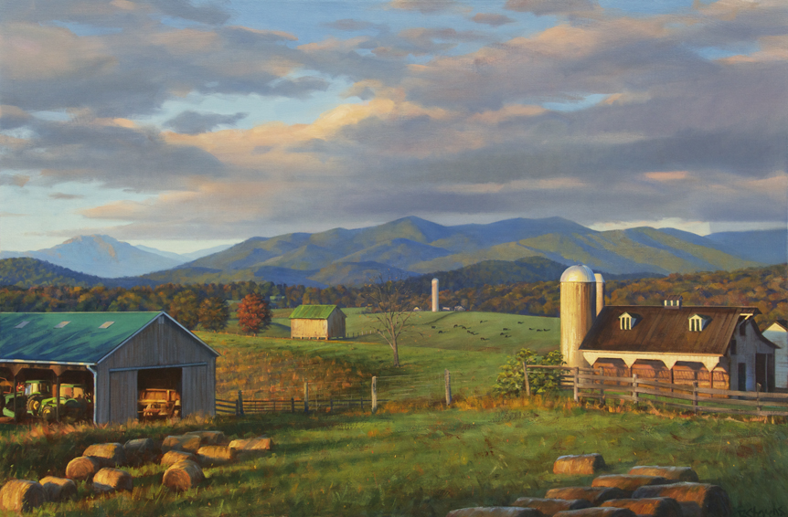 Blue Ridge Daybreak, landscape painting, oil painting, Blue Ridge mountains landscape painting