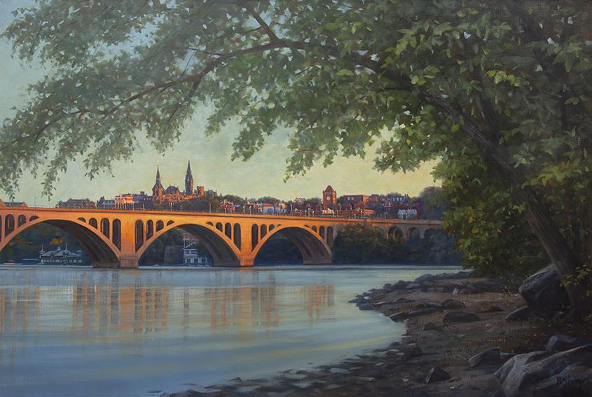 georgetown-sunrise, landscape painting, oil painting, Key Bridge, Georgetown University, Potomac River painting, Washington DC painting, Key Bridge painting