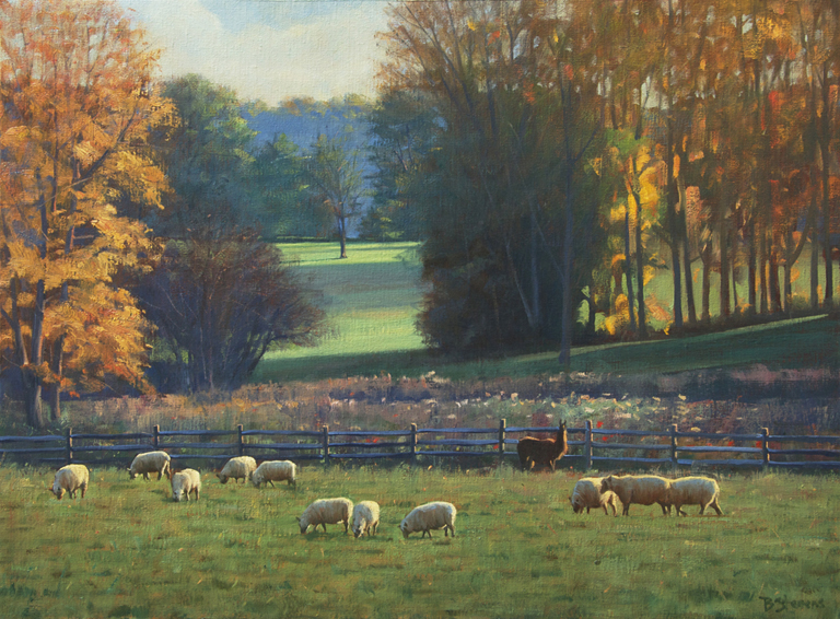 grazing-sheep, landscape painting, oil painting, Virginia landscape painting