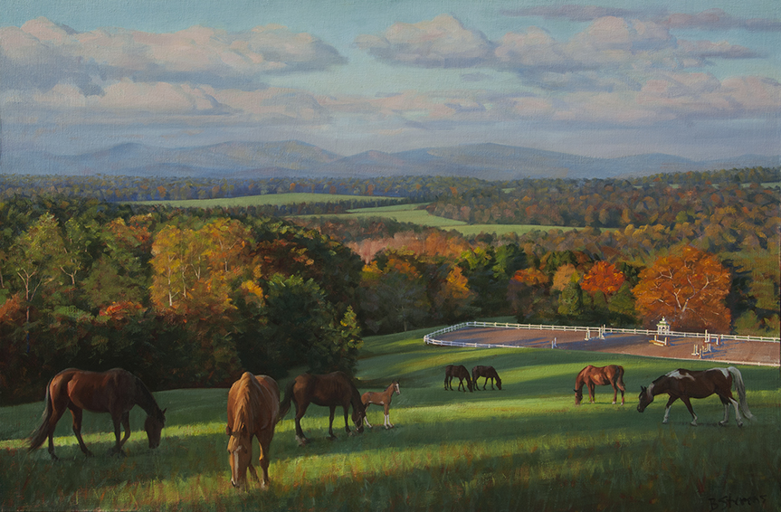 morning-in-the-piedmont, Virginia landscape painting, Virginia Piedmont, landscape painting, oil painting, landscape painting with horses