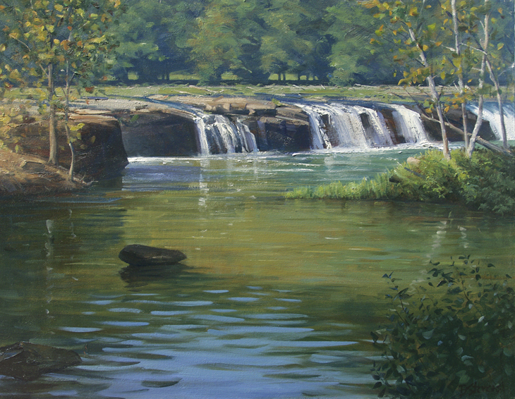 near sandstone falls, landscape painting, oil painting, West Virginia landscape, waterfall