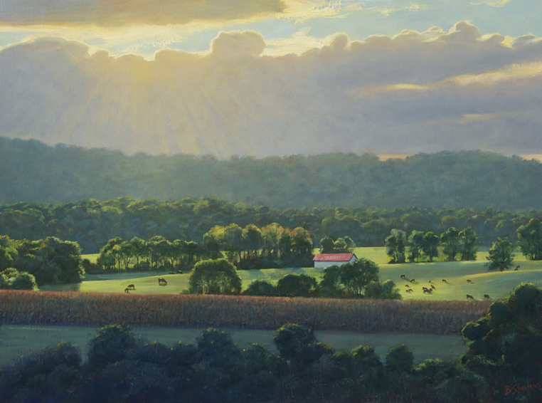 sun break, landscape painting, oil painting, virginia landscape painting, virginia piedmont landscape, blue ridge virginia landscape