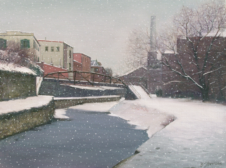 c & o canal in winter, landscape painting, oil painting, C&O canal painting, Washington DC winter landscape painting, C& O canal Washington DC