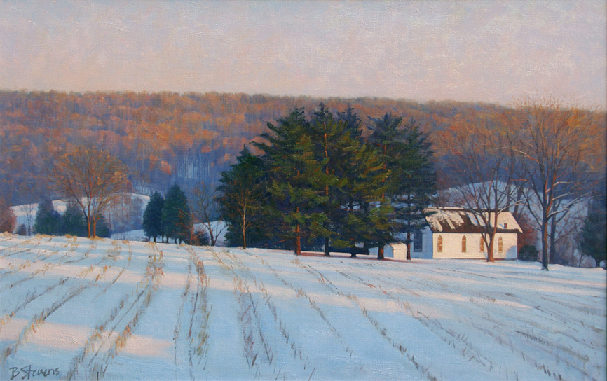 evensong, landscape painting, oil painting, virginia landscape painting, Bull Run VA landscape, virginia winter landscape