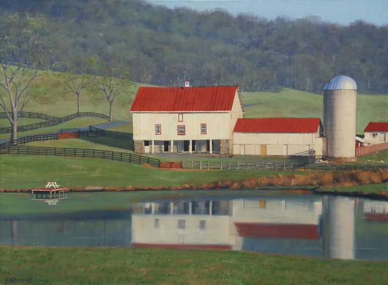 farm reflections, landscape painting, oil painting, virginia landscape painting