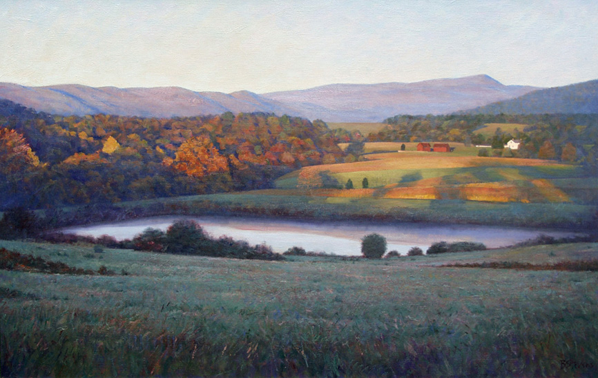 piedmont morning, landscape painting, oil painting, Virginia Piedmont landscape painting