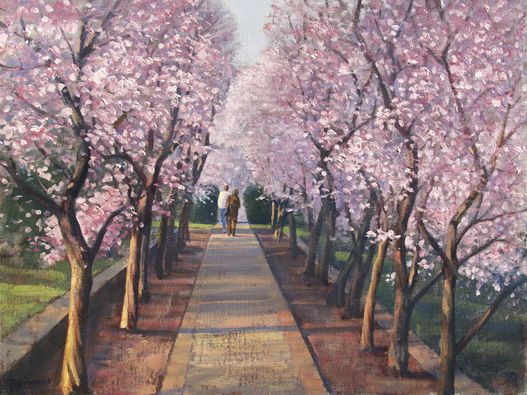plum alley, landscape painting, oil painting,plum trees Dumbarton Oaks Washington DC, Washington DC landscape painting
