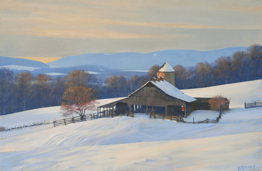 snow in the piedmont, landscape painting, oil painting, Virginia winter landscape, Virginia farm scene in winter, Fauquier County winter landscape