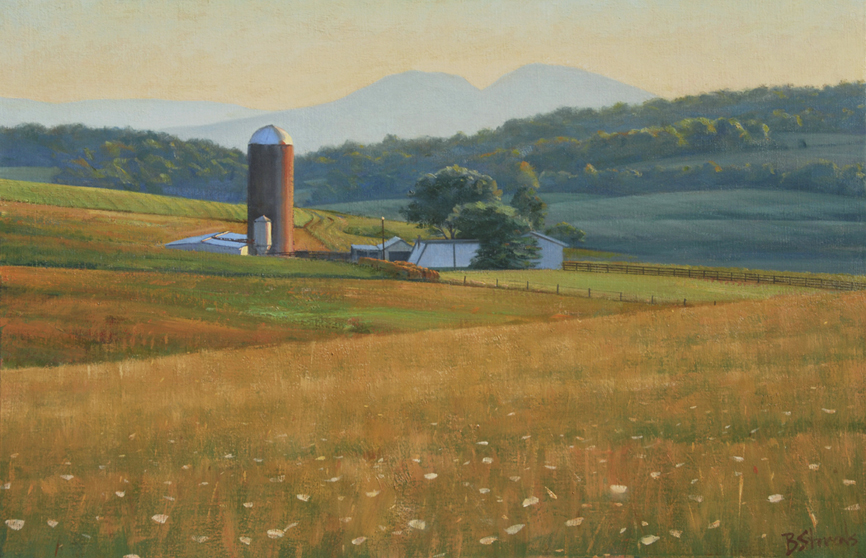 summer fields, landscape painting, oil painting, Virginia landscape painting, Virginia farm scene