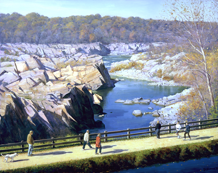 sunday morning, great falls, landscape painting, oil painting, Potomac River painting, Great Falls VA landscape painting