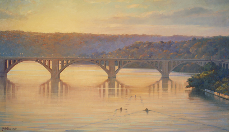 twilight reflections, landscape painting, oil painting, Key Bridge painting, Washington, DC landscape painting, Key Bridge at sunset painting