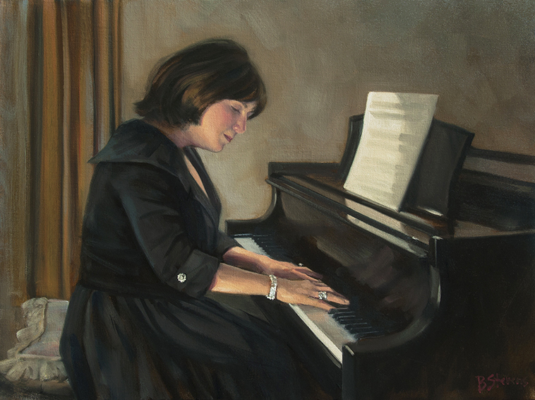 elaine-at-the-piano, oil portrait, informal portrait, musical portrait, great falls, virginia, piano.