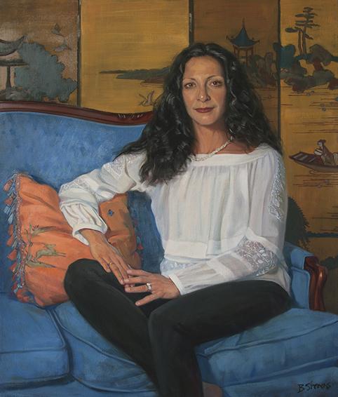 leena-it's-never-black-or-white, female portraiture, oil portrait, informal portrait, yoga teacher.
