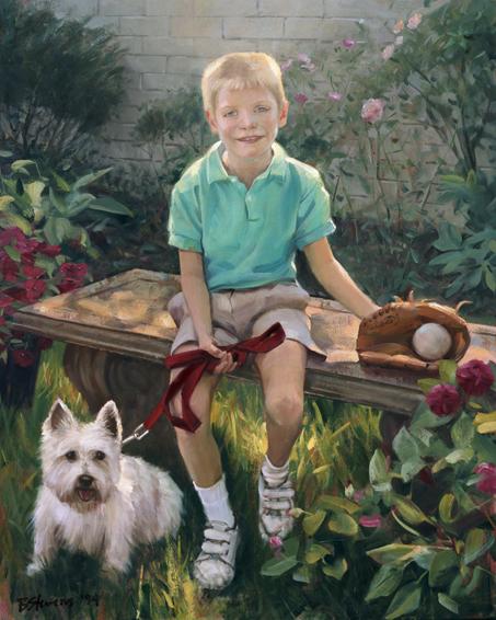 children's portrait, oil portrait, environmental portrait, informal portrait, outdoor portrait, chevy chase, maryland