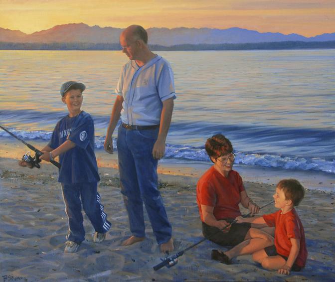family portrait, children's portrait, oil portrait, environmental portrait, informal portrait, outdoor portrait, seattle, washington