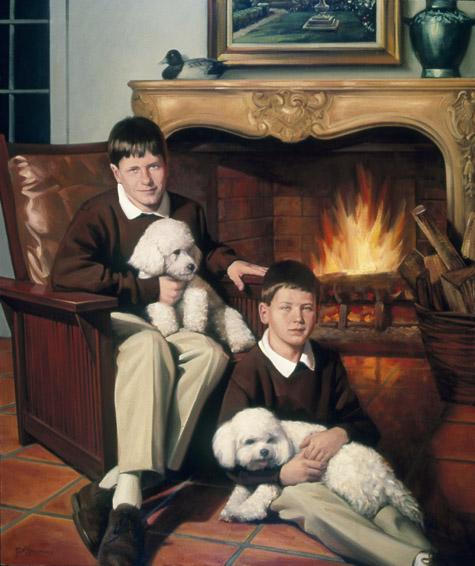 children's portrait, family portrait, oil portrait, informal portrait, greenwich, connecticut