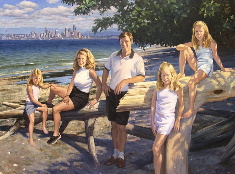 family portrait, children's portrait, oil portrait, environmental portrait, informal, outdoors, mercer island, washington