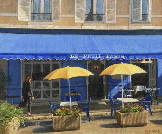 le-petit-paris, oil painting, Provencal cafe painting, Paris cafe painting, Provence village painting, Paris cityscape