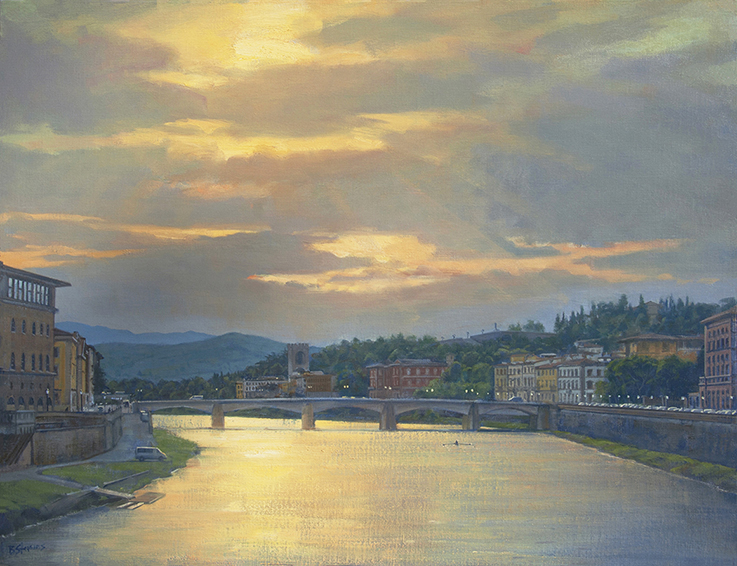 morning on the Arno, oil painting, Italian landscape painting, Arno River painting, Florence painting, Tuscan landscape, sunrise on the Arno