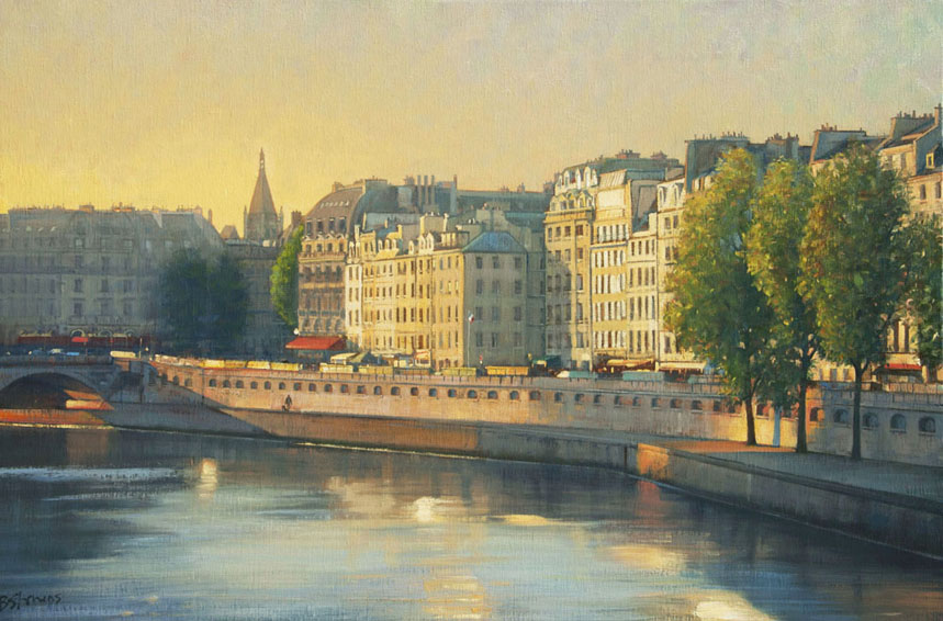 saint-michel-morning, oil painting, Paris cityscape, Paris landscape painting, Paris bridges, Saint-Michel bridge Paris, Seine River painting, Paris quais