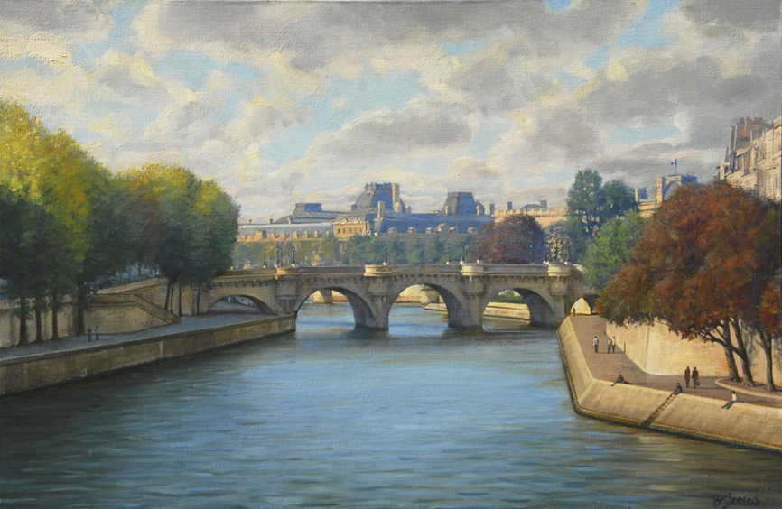 the-path-of-the-seine, oil painting, Paris landscape painting, Paris cityscape painting, Seine River landscape painting, Paris bridge painting, Paris in autumn painting, River Seine painting