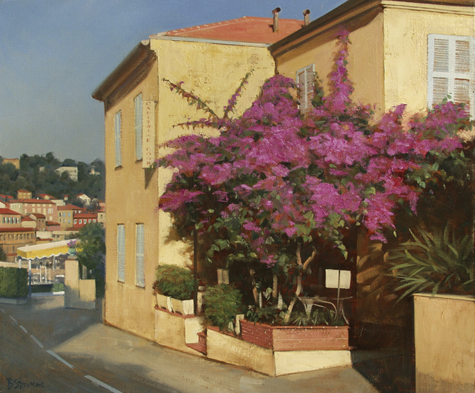 cap-ferrat-bougainvillea, oil painting, French cityscape, French landscape, Provence village painting, St Jean Cap Ferrat painting, French village scene, French Riviera scene, French Riviera landscape painting