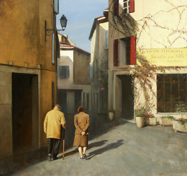 comme-dhabitude, oil painting, French landscape painting, French village painting, French Provencal scene, Provence France painting, Provence village scene